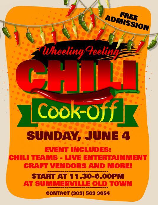 Chili Cook Off Flyer Chili Cook Off Cook Off Printable Invitation Templates