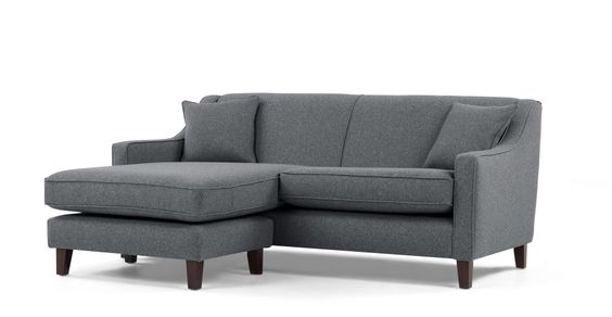 Halston Corner sofa, Charcoal Weave | made.com