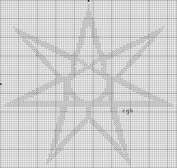Free Ancient Symbols Cross Stitch Charts: Free Seven-Pointed Star Cross Stitch Pattern - Elven Star Graph