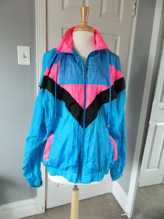 Vintage 80s Neon Windbreaker Jacket | Windbreaker jacket, Jackets ...