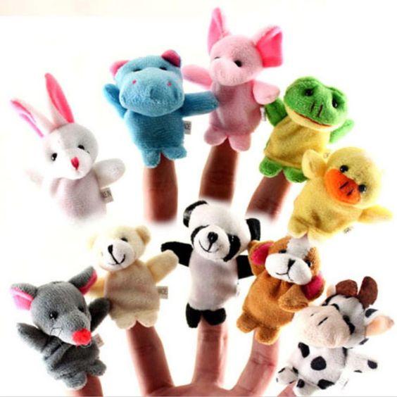 10 pçs/lote baby toys o jogo pai-filho adereços ensino Bonecas de Pano Animal Fantoche de Dedo adereços Dupla Para Apaziguar O toys