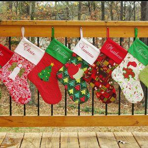 Imagem do Natal Padrão Stocking - Elf ou Tradicional - Padrão de costura para impressão