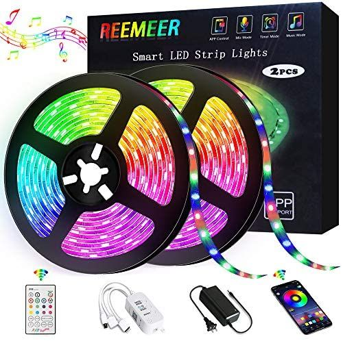 Amazon Com Led Strip Lights Reemeer Rgb Led Strip Lights Kit 32 8ft 10m Smd5050 300 Leds Colo In 2020 Led Color Changing Lights Led Tape Lighting Rgb Led Strip Lights