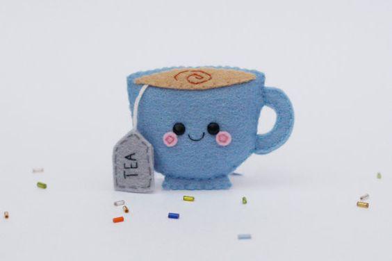 Blue Teacup Felt Brooch, Felt Pin, British Tea