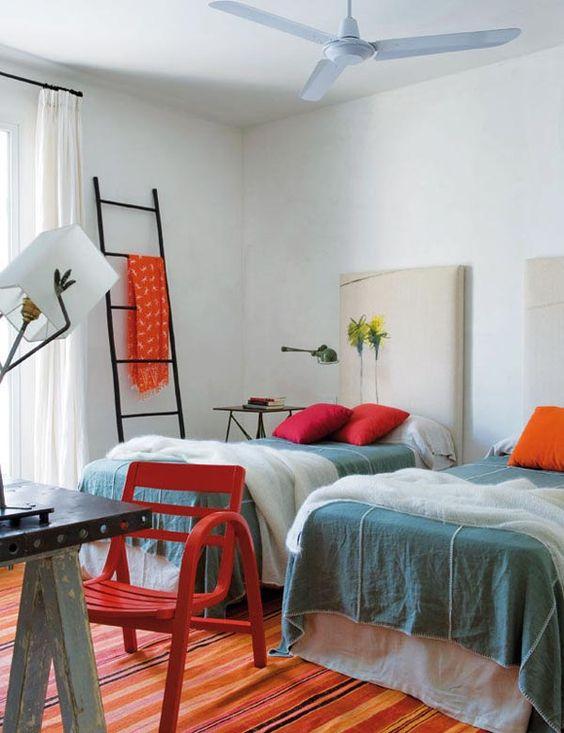 Cádiz House-1 Kind Design, interior design Marta de la Rica. check out the lamp (looks like hands holding the shade) & the headboard!!!