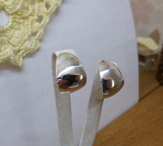 925er Silber Ohrstecker Ohrringe halbrund SO242 von Schmuckbaron