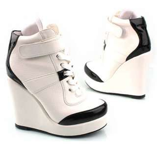 High Heel Shoes For Women  WHITE WOMENS WEDGE HIGH HEEL SNEAKER