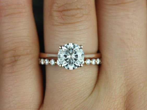 Skinny Flora 8mm & Petite Bubble Breathe 14kt Rose Gold Round FB Moissanite and Diamonds Wedding Set (Other metals and stones available)