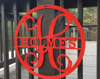 Metal Monogram Door Wreath 18monogram door by HouseSensationsArt