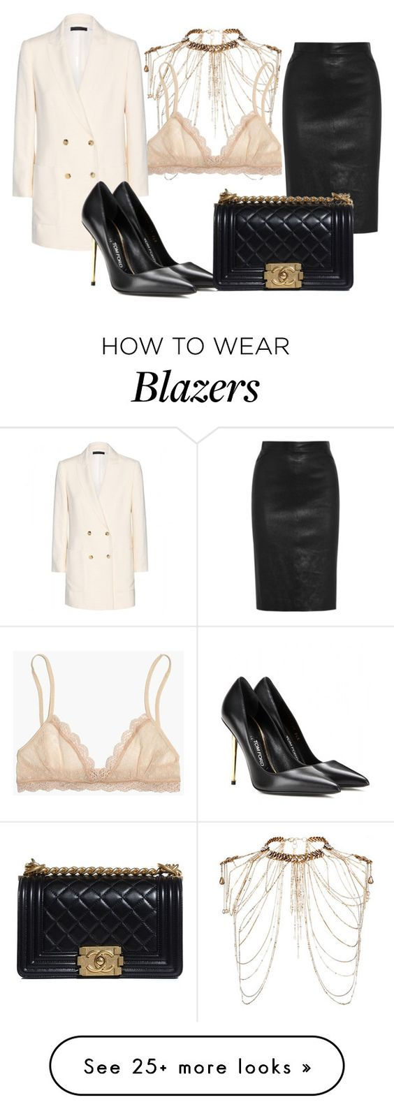 """""""walkin in da bra"""" by marija-colic7 on Polyvore featuring Erickson Beamon, Madewell, Givenchy, The Row, Tom Ford and Chanel"""