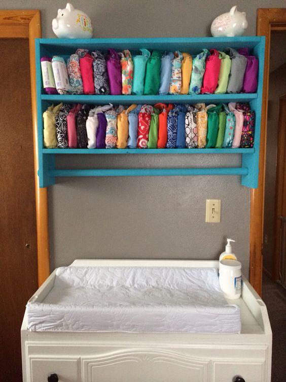 Cloth diaper storage shelf