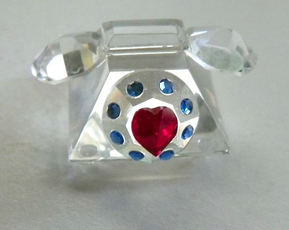 Crystal Miniature Rotary Telephone with Blue Crystals & Red Heart on Dial 1…