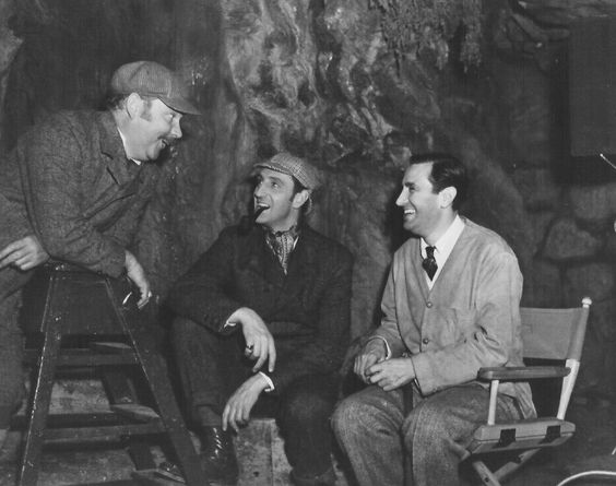 """Nigel Bruce, Basil Rathbone, and director Sidney Lanfield on """"The Hound of the Baskervilles""""."""