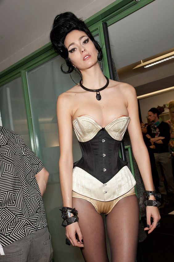 Morgane Dubled backstage at Jean Paul Gaultier Couture Spring 2012