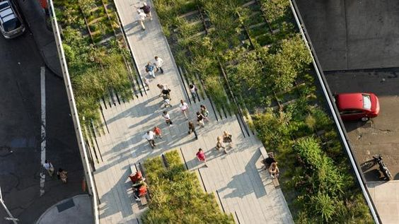 New York's High Line, a mile-and-a-half long elevated park with meandering concrete pathways, naturalistic plantings, seating, lighting and a exceptional view.