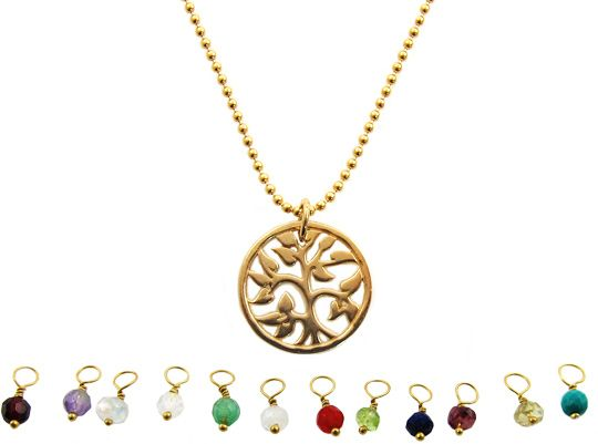 InTu jewelry | Geboortesteen ketting Tree of Life – december turquoise