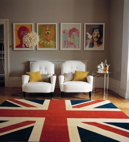 A hand-knotted Union Jack rug & the Beatles..the ultimate British icons!