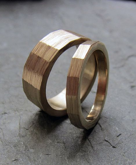 For the groom a brushed brass ring is a nice alternative to the traditional gold band