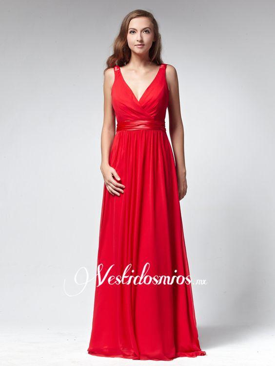 Chiffon Escote en V Vestido de Fiesta con Lazos VP202 [VP202] - Mex$2,851