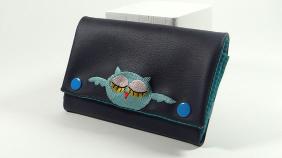 Geldbeutel Portemonnaie Eule Leder dunkelblau