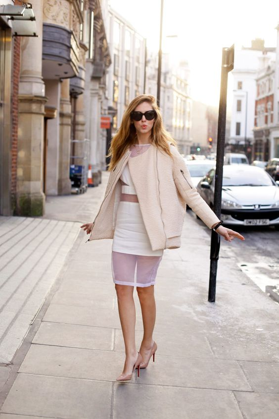 sheer outfit with coat