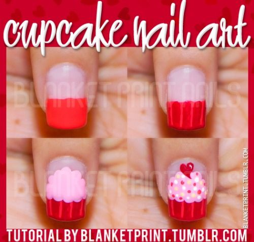 Start with a base coat, then paint about half your nail. Paint vertical lines over & add a horizontal line to the tip of your nail to create the bottom of your cupcake. Using a dotting tool create frosting. Dot on your sprinkles and a tiny little heart on top of the cupcake, seal in with a top coat: