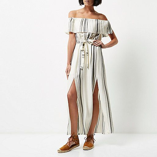 Cheesecloth Stripe Bardot neckline Frilly trim Belted waist Maxi length