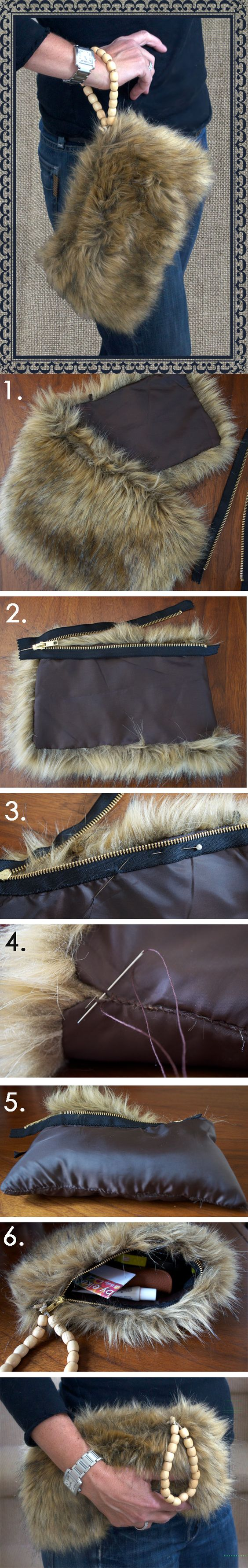 Recycle old faux fur collar into a purse!: