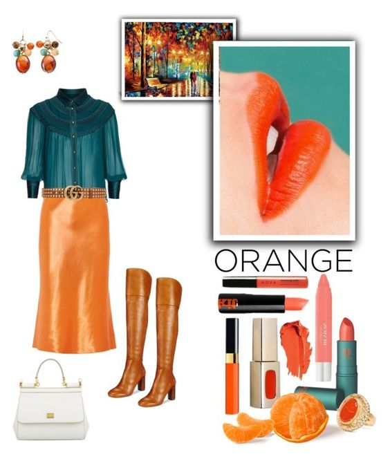 """""""Orange is the new black..."""" by modgirl71 on Polyvore featuring beauty, iCanvas, Richards Radcliffe, TIBI, Gucci, INC International Concepts, Chico's and Dolce&Gabbana"""