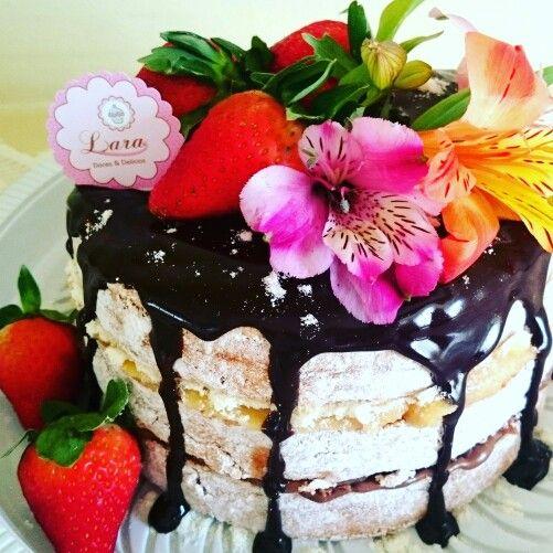 Naked cake cobertura de ganache