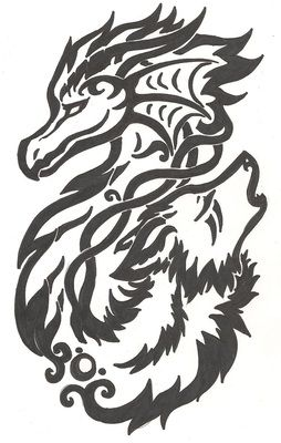 dragon and wolf celtic knot tribal
