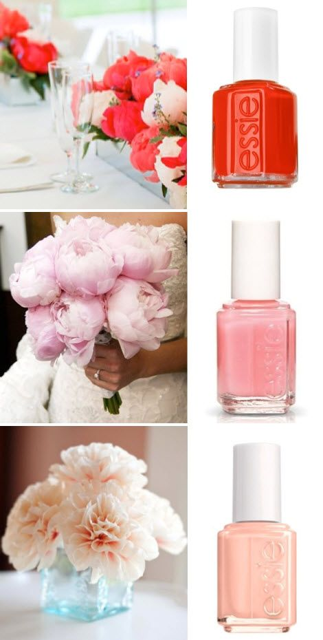Essie nails and flowers. Peonies?! Why are you so pretty and not my wedding flowers? Oh right, wrong season.: Essie Nails, Essie Colors, Flowers Peonies, Nail Colors, Colors Nails, Essie Flowers, Nails Polish