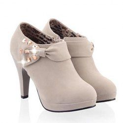 Elegant Women's Ankle Boots With Bow and Rhinestones Design (GRAY,39) | Sammydress.com Mobile