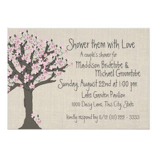 "Cherry Blossom Tree Couples Shower 5"" X 7"" Invitation Card"