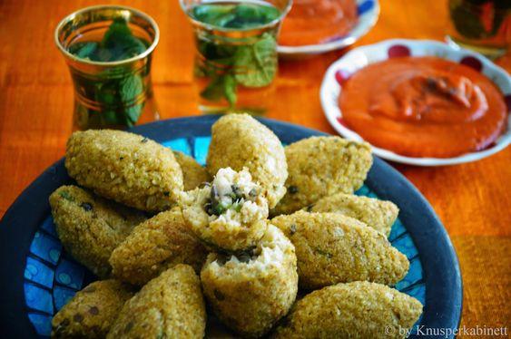 KNUSPERKABINETT: Vegan and gluten-free Kibbeh with lentils and mushroom filling and fresh Zimtharissa