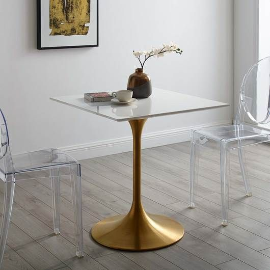 Lippa 28 Square Dining Table In Gold White Square Dining Tables