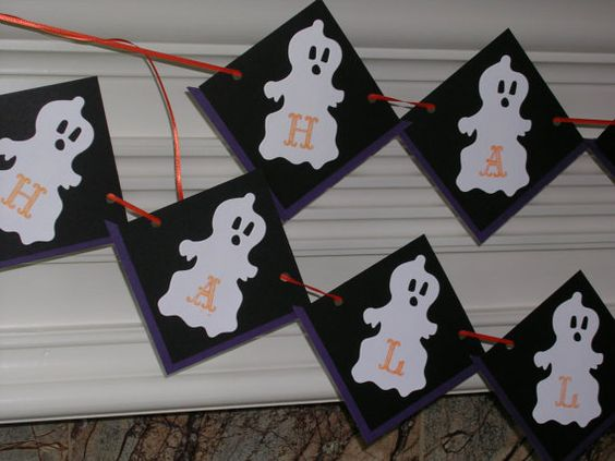 Halloween Ghost Decor Ghost Garland Happy by HolidayImaginations