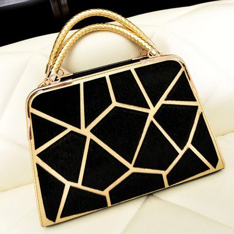 Black Mohair Geometrical Design Satchel Bags with Zip