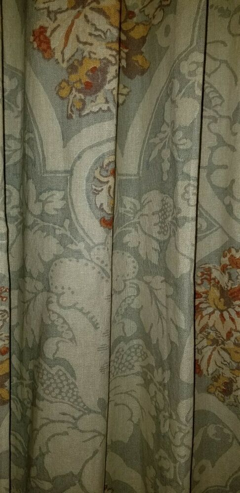 Pottery Barn Camilla Damask Blue Gray Set Of 2 Curtains 50 X 96