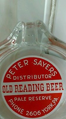 Old Reading Beer York, PA Color Lithograph Vintage Glass Ashtray