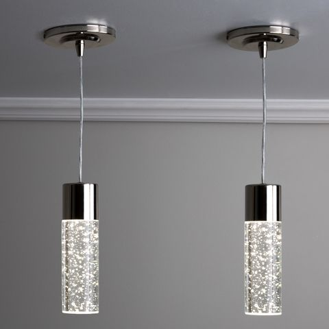Style Selections Dunwynn Polished Nickel Modern Contemporary Seeded Glass Cylinder Led Pendant Light Lowes Com Led Pendant Lights Pendant Light Polished Nickel Pendant Light