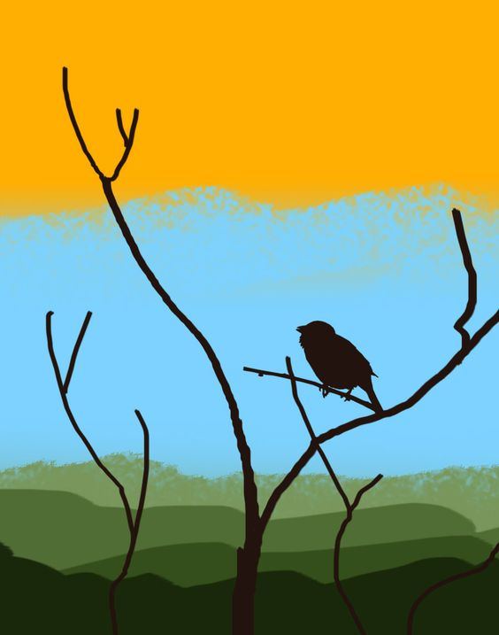 A painting I'd like to do at the gallery. Simple background, simple naked tree, and a little bird!