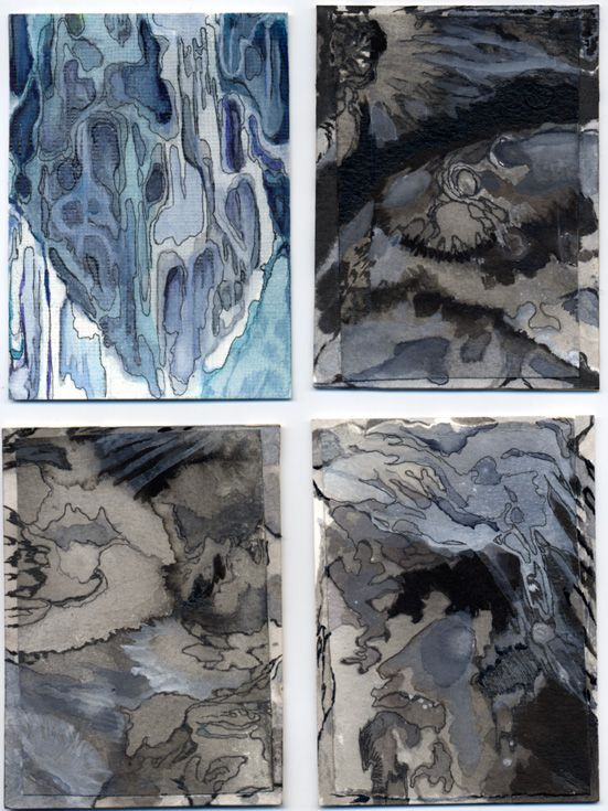 Tahlia Day makes detailed abstract paintings/drawings in watercolor and ink that resemble topographical forms, maps, or aerial landscape views, named after mythological/fictional/otherwise unreal places. (See www.tahliaday.com for more of her work.) She is happy to support MOM's great work helping people in our community.