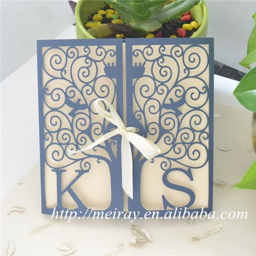 "wedding cards invitation 2015!  card craft supplies paper sleeves for invitations, ""happiness tree"" laser cut invitation sleeves"