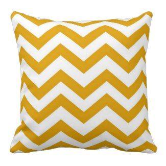 Mustard Yellow and White Chevron Pillow