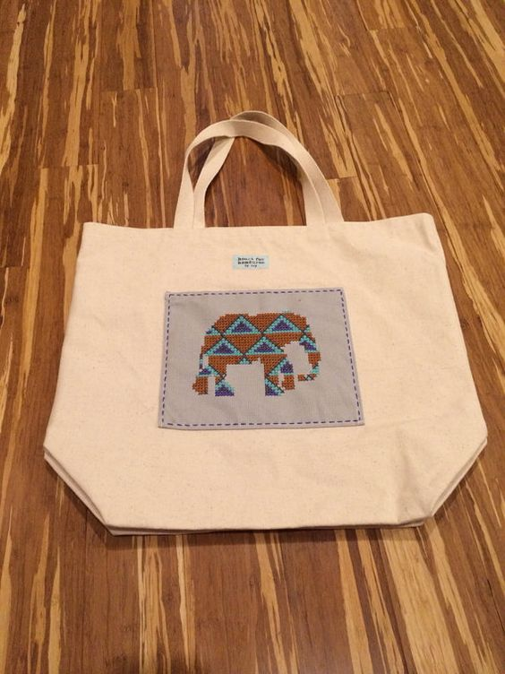 Canvas elephant tote on Etsy, $36.00