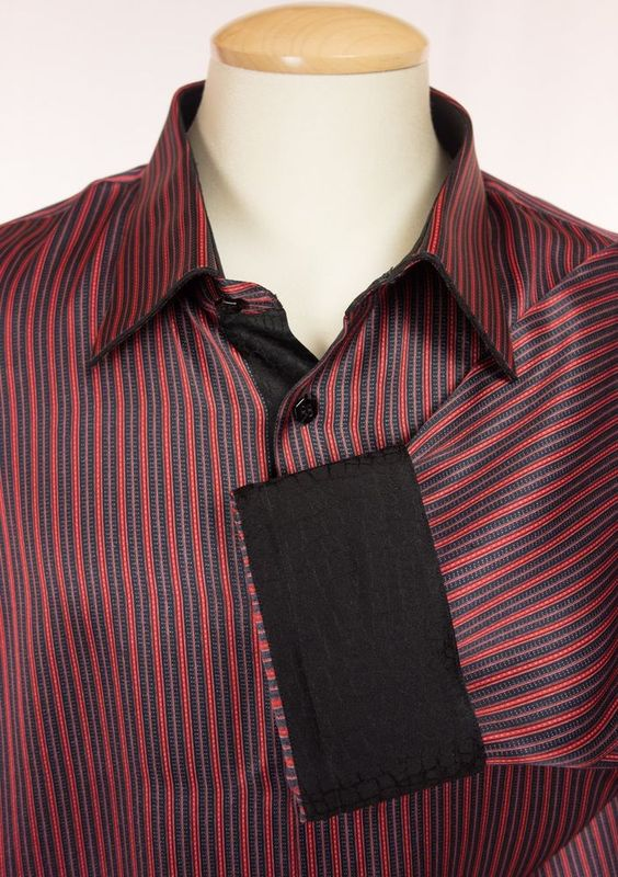 Gerlin mens silk dress shirt viii 4xl black red stripe for Mens red and white striped dress shirt