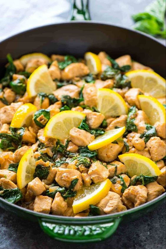 One Pan Lemon Basil Chicken with Spinach