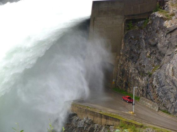 Floodgates are open! at Revelstoke Dam. . first major release since 97. (101) Facebook