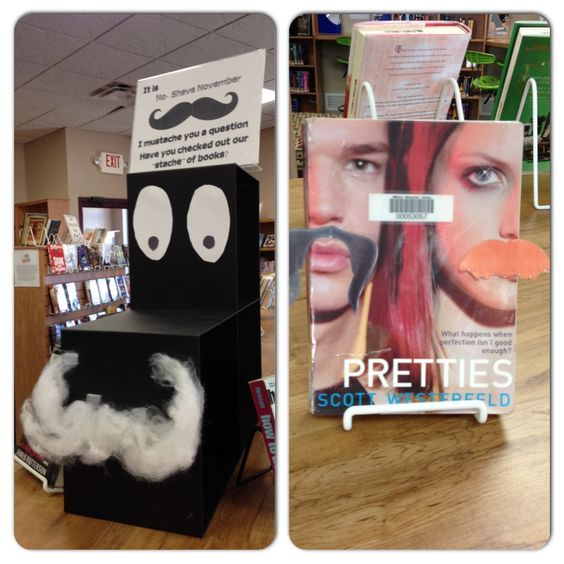 "I mustache you to check out our ""stache"" of books."